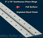 3 X 72 Piano Hinge Steel Finish Continuous Full Surface Nonremovable Pin