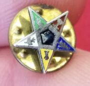 Vintage Sterling Collectible Order Of The Eastern Star Oes Tie Tack Jewelry J