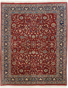 Rra 8x10 Chinese Kashan Allover Design Red And Navy Rug 25386