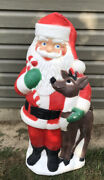 Vntg 2000 Tpi 40 Christmas Santa With Reindeer Blow Mold W/light Cord