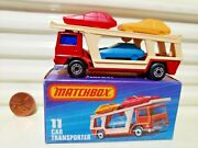 Lesney Matchbox Mb11c Car Transporter Silver Painted Base Mint In C9.5 Mint Box