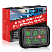 6 Gang Switch Panel W/automatic Dimmable Circuit Control Box Car Marine Boat 12v