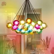 Modern Chic Cluster Pendant Light With Multi-color Hand-blown Glass Globes New