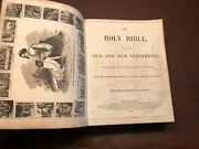 Antique 1851 Leather Bound Holy Bible John P. Perry With Durfee Family Record Ma