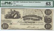 T-28 Pf-10 10 1861 Confederate Paper Money - Pmg Choice Uncirculated 63