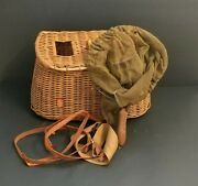 Old Creel Fishing Basket Trout Fly Wicker, Canvas And Leather W/ Shoulder Strap