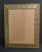 Antique Heavy Gold Baroque Ornate Metal Wall/ Desk Picture Frame 16 X 13