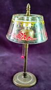 1939 Perfume Hi-lights By Stuart Brass Lamp Painted Glass Shade Secure 3 Bottles