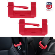 2x Car Seat Belt Buckle Clip Silicone Anti-scratch Cover Red Safety Accessories