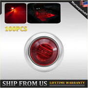100x Red Boat Clear Led Cabin Deck Courtesy Light Stern Lights Stainless Base