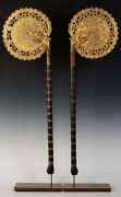 19th Century A Pair Of Antique Burmese Wooden Fans With Gilded Gold And Glass