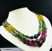 Natural Multi Tourmaline Smooth Tumbled Shape Beaded Necklace With Cord Closure