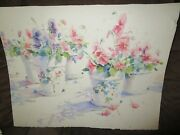 Signed Original Watercolor By Peg Humphreys, Pansies In Pots 20x 26
