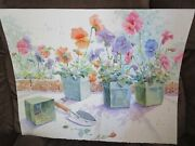 Signed Original Watercolor By Peg Humphreys, Pansies In Pots W/ Shovel 21x 27