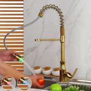 Kitchen Gold Vanity Sink Mixer Led Pull Out Faucet Deck Mount Single Level Taps