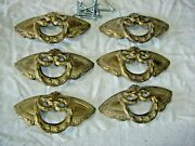 Antique Salvage Set Of 6 Ornate Brass Plated Mid-century Drawer Pulls1163