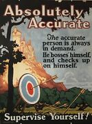 1924 Original Motivational Poster Absolutely Accurate Mather Work Incentive
