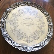 Antique 19th C Victorian Solid Silver Tray Engrave Scientist Figures London 1852