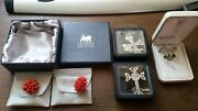 Various Beautiful Boxed Costume Jewellery Pieces Earrings Pendants Broaches
