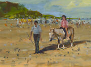 William Norman Gaunt 1918-2001 - Signed Gouache Donkey Rides At Filey