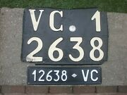 2x Italy Vercelli 1930s Vc 12638 Vintage Metal License Plates And Documents