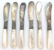 .c1879 - 1928 American Cutlery Co Set 6 Mother Of Pearl Butter / Pate' Knives