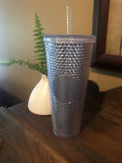 New Starbucks Studded Tumbler Platinum Silver Collector Sold Out Straw Bling