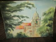Signed Original Watercolor By Peg Humphreys, Carmel Mission And Seals Roc 22x 30