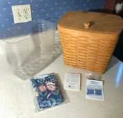 New Longaberger Classic Mail Basket With Wood Lid, Protector And Hanging Hardware