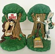 Looney Tunes Bugs Bunny And Taz Tasminian Devil Bookends Statues Rare