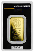 1 Oz Gold Bar Argor-heraeus Logo Kine Bar In Assay Certificate