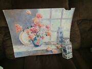 Signed Original Watercolor By Peg Humphreys, Still Life And Actual Vase 27.25x22