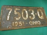 Great Collectible 1951 Ohio License Plate/tag 7503-q...........free Postage Usa