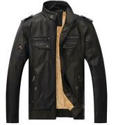 Mens Casual Leather Jacket Loose Fit Motorcycle Zipper Metallic Stand Collar Sz