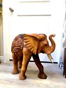 Large Wooden Elephant Statue Hand Carved Solid Wood Zenda Imports