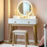 Bedroom Vanity Dressing Table Set Women Makeup Desk With Lighted Mirror And Drawer