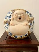 Great Happy Laughing Lucky Porcelain Buddha Asian Blue White Handpainted Stamped