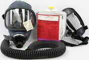 Msa Ultravue Gas Face Mask Respirator W/ Hose, Canister And Harness Lot A