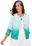 Jessica London Womenand039s Plus Size Collarless Denim Jacket Button Front Stretch