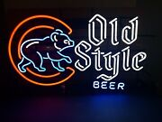 Old Style Beer Chicago Cubs Walking Bear Neon Light Sign Wrigley Baseball Mib
