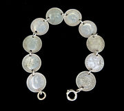 Antique Sterling Silver Trench Art Wwi Us Army 3 Pence Coin Link Bracelet 7andrdquo