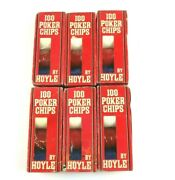 Lot Of 600 Vintage Hoyle Red White And Blue Poker Chips 6 Pks Of 100 Nos