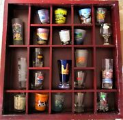 Shot Glass Collection With Wooded Display Case Free Shipping Great Display