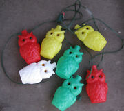 Vintage Noma String Of 7 Blow Mold Plastic Owls Patio Rv Camping Lights Set
