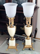 Rare Antique Pair Of 1920's Paw Feet Mslc 3480 Hollywood Regency Torchiere Lamps