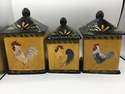 Certified International Rooster Kitchen Canisters Set Three Kim Lewis Mustard