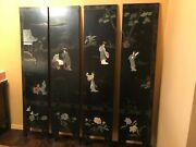 Antique Chinese Four Panel Coromandel Black Lacquer Screen With Stone Inlay -19c