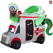 Gemmy 8and039 Airblown Animated Inflatable Monster Ambulance Car Scene 222036