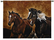 53x65 Horses Ready To Run Western Southwest Tapestry Wall Hanging