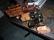4 Lot Vintage Handcrafted Wood Rolling Delivery Toy Trucks Philippines
